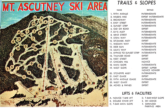 ascutney vermont vintage trail map ski area