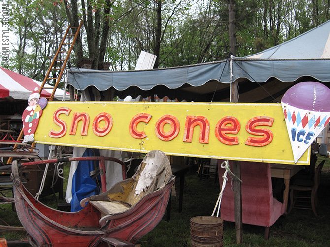vintage sno cones sign brimfield antique show