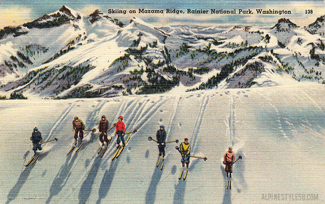 ski mazama ridge rainier washington postcard