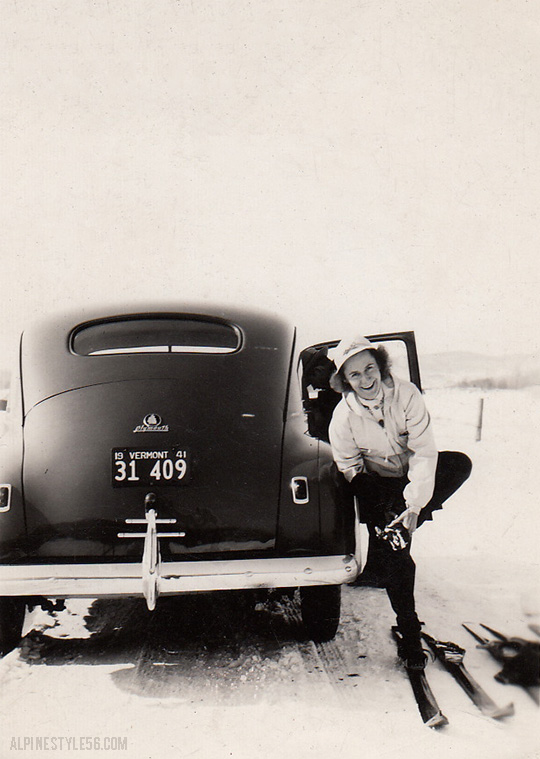 vintage plymouth car ski vermont 1941 woman