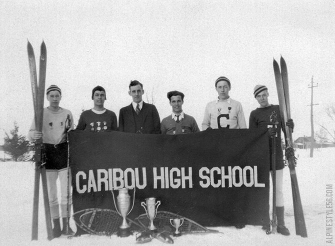caribou maine high school ski team vintage