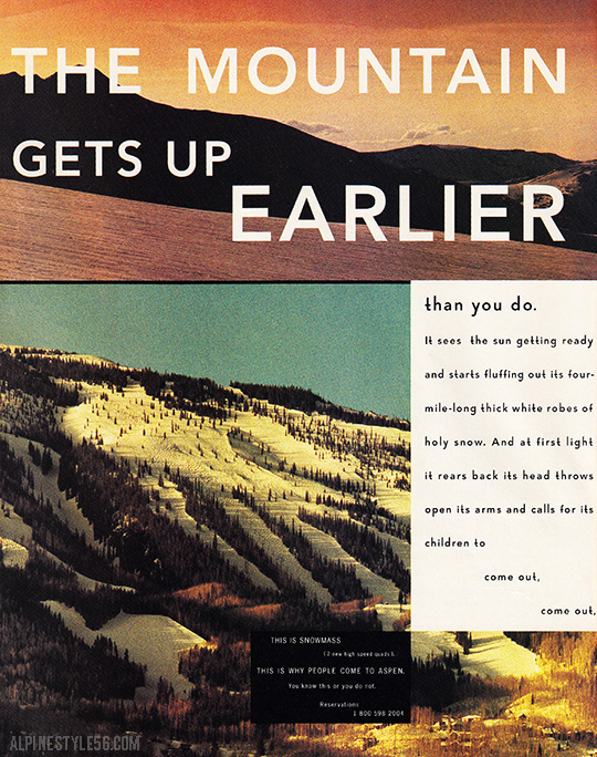 snowmass aspen colorado ski ad 1973 mountain gets up earlier