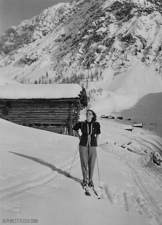 vintage ski woman sun snow europe fashion