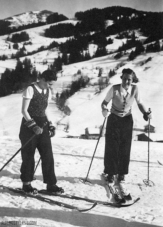 vintage ski skiers women fashion europe alps snow