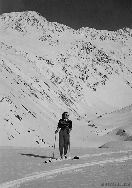 vintage ski tour woman europe alps fashion