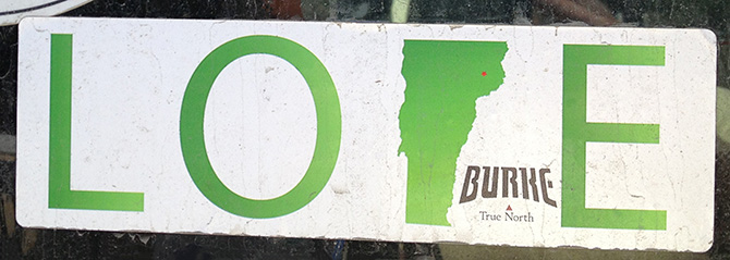 burke vermont love bumper sticker