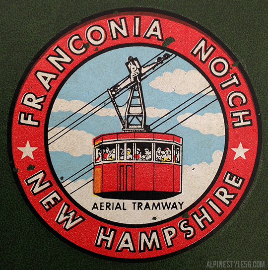 vintage franconia notch aerial tram logo new hampshire cannon