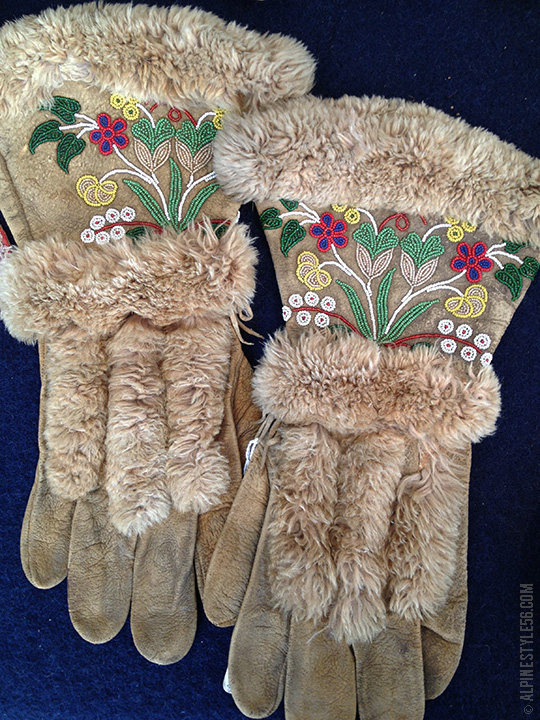 native american athabaskan athabascan glove leather beading flowers fur