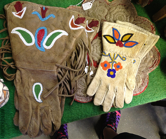 native american gloves beading beaded leather vintage