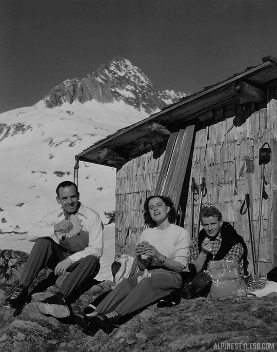 vintage ski europe alps lunch sun