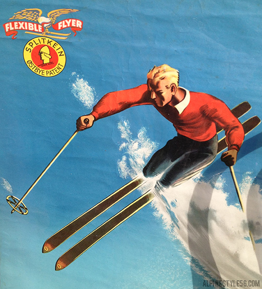 vintage ski travel poster splitkein flexible flyer