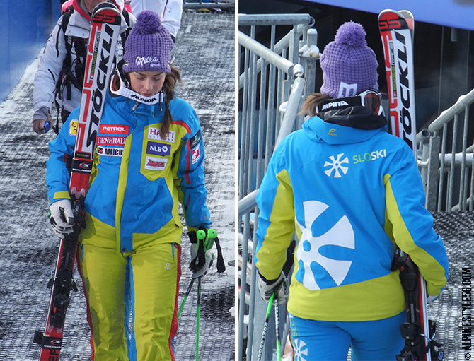tina maze slovenia ski world champion schladming uniform milka