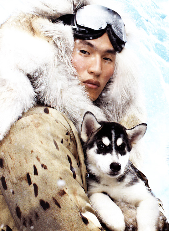moncler gamme rouge ad ski snow man husky dog 2013