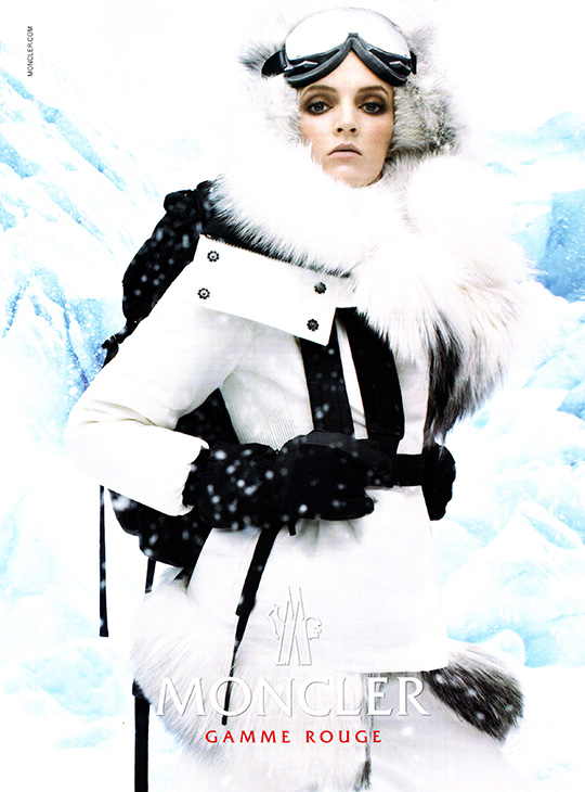 moncler gamme rouge ad woman ski snow black white 2013