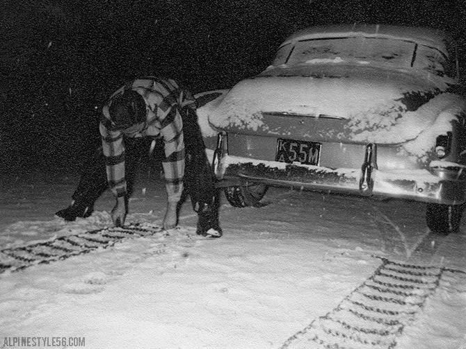 vintage photo car chains tires snow