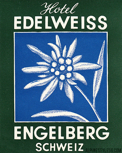 hotel edelweiss engelberg switzerland vintage luggage label