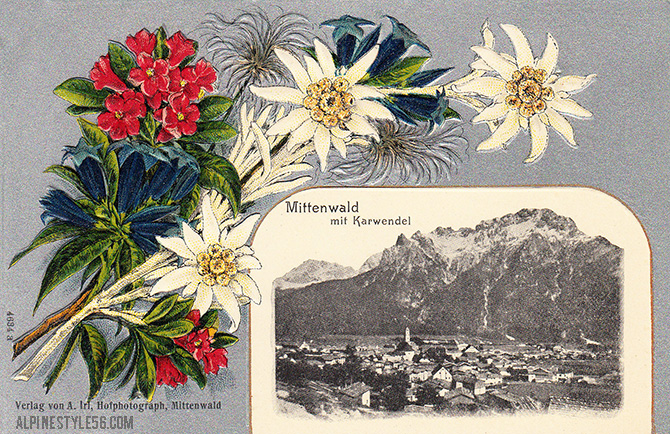 mittenwald germany vintage postcard edelweiss