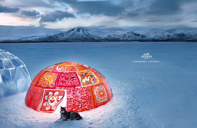 hermes winter at last 2009 2010 ad campaign dog sled igloo