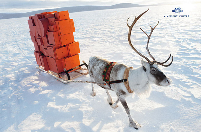 hermes winter at last 2009 2010 reindeer orange boxes ice snow
