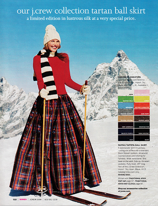 jcrew winter holiday tartan skirt ski snow