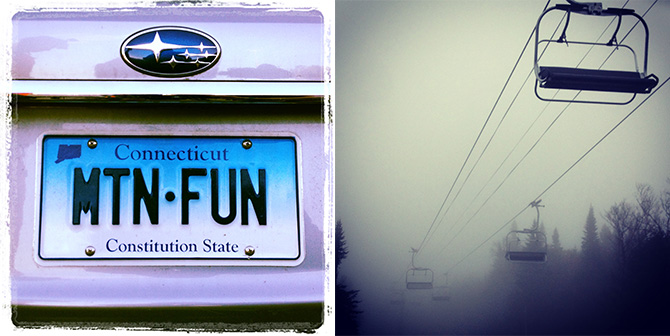 mountain fun license plate chairlift fog burke vermont