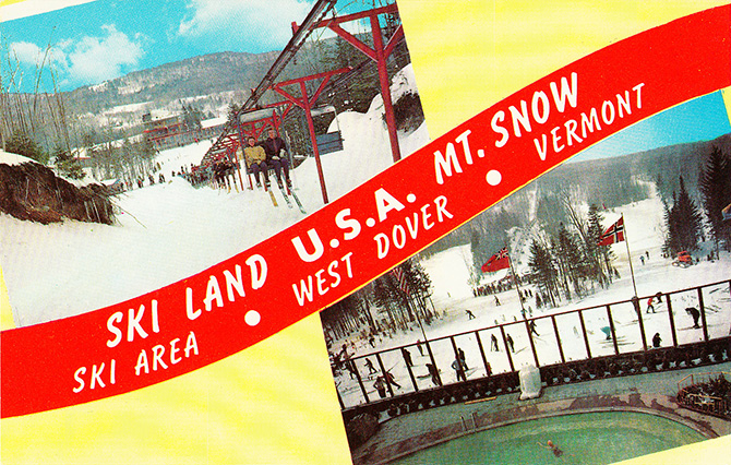 mount mt snow vermont ski west dover vintage postcard