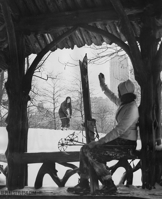 ski central park new york city vintage 1939 snow storm