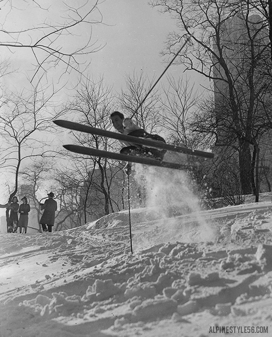 ski central park new york city vintage 1938 snow storm thanksgiving