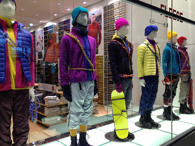 uniqlo winter 2013 down fleece jackets NYC window display alpine mountaineering
