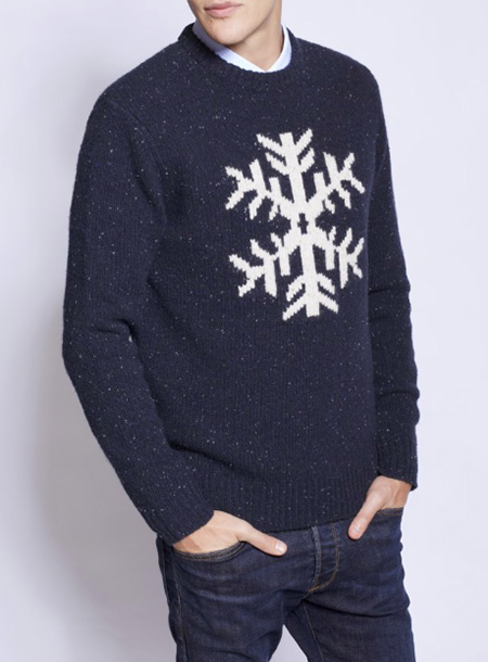 jack wills barnacre knit sweater navy blue snowflake