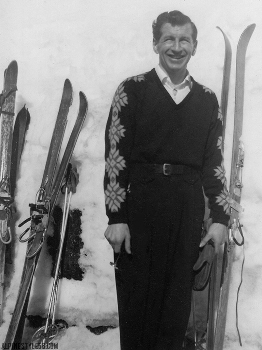 vintage photo ski skis sweater man