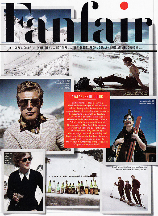 vanity fair magazine january 2014 robert caps ski photographer color exhibit new york city