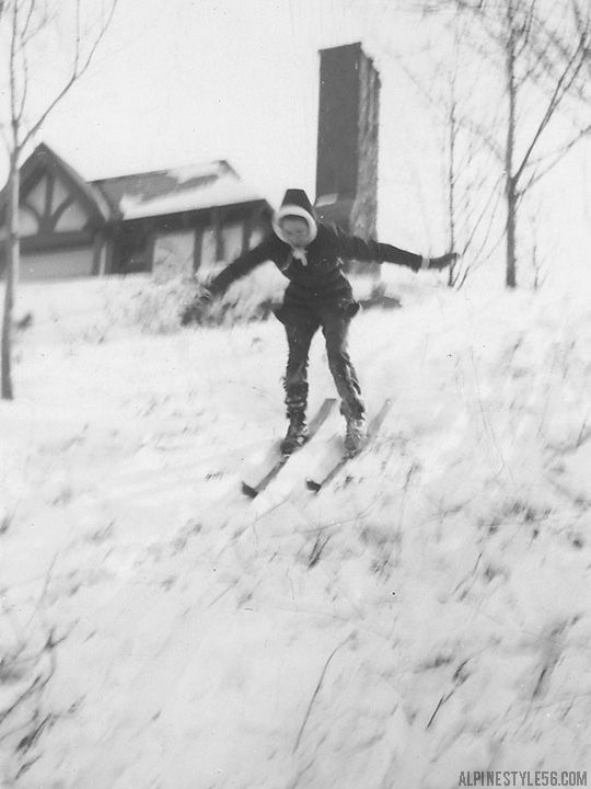 vintage photo girl child ski yard play snow day fun