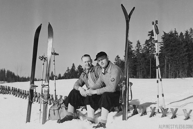 vintage men ski skiing europe