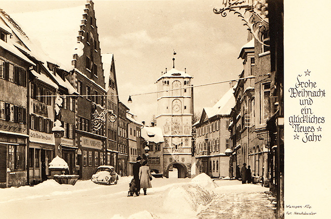 wangen im allgau germany ravensburg gate vintage photo christmas snow 1955