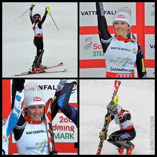mikaela shiffrin slalom world champion 2013 schladming austria atomic skis