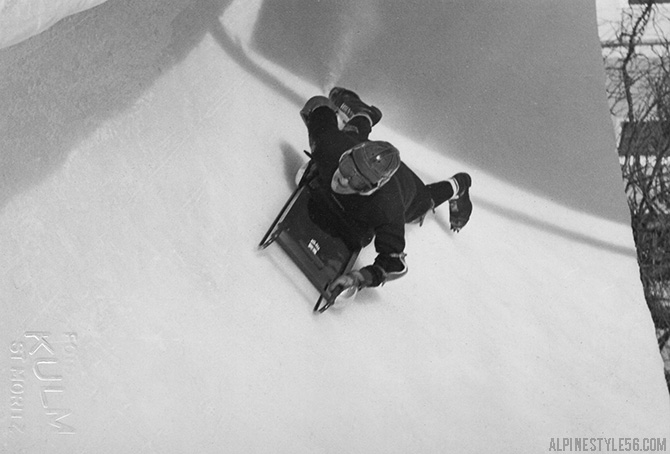 skeleton racing st moritz switzerland vintage bobsled