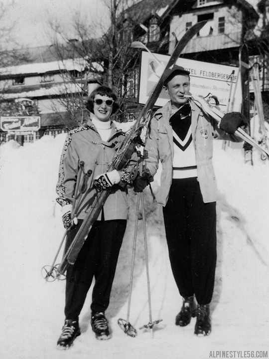 vintage ski skiing felderbergerhof germany woman man
