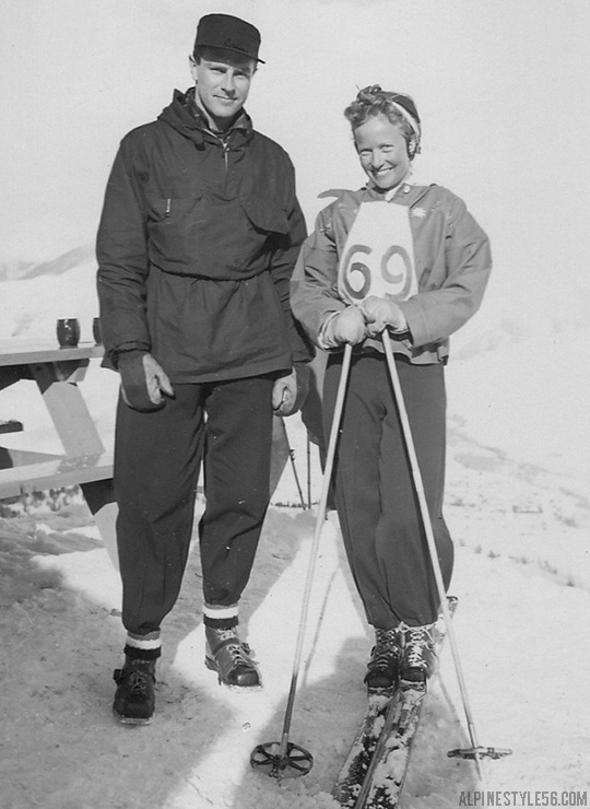 ski racers love man woman vintage