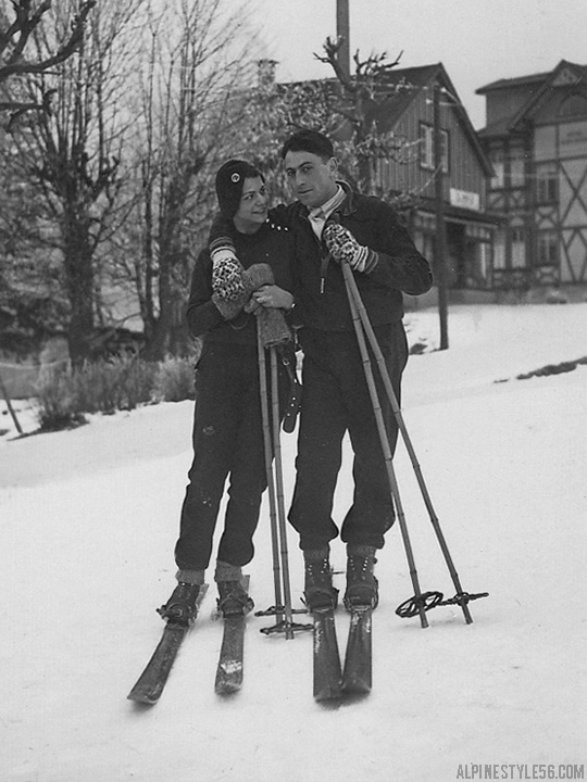 romantic skiers ski lovers love vintage