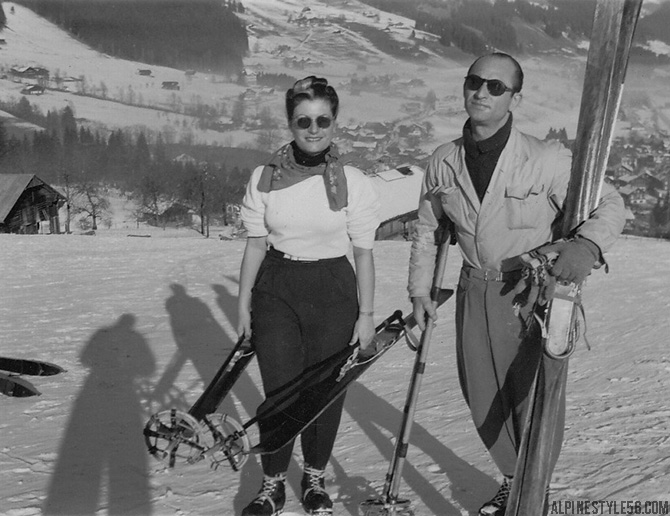 skiers wife husband switzerland ski vintage