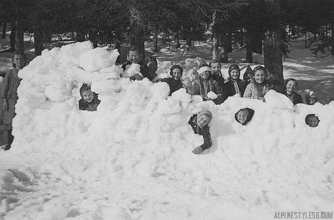 snow fort girls build vintage photo snow day