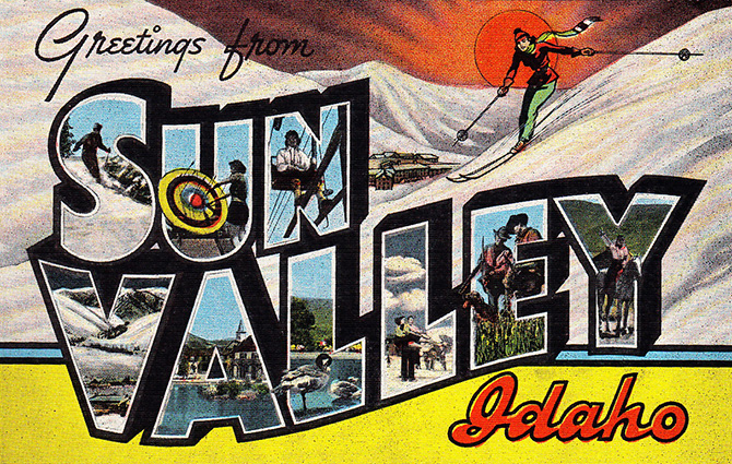 sun valley greetings vintage linen postcard ski
