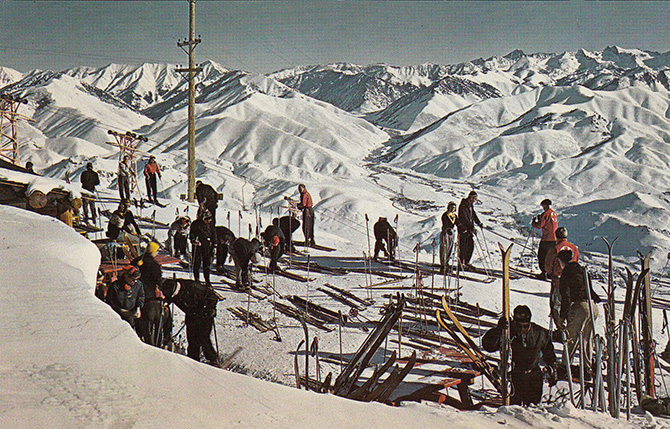 sun valley idaho ski warming hut baldy mountain vintage postcard