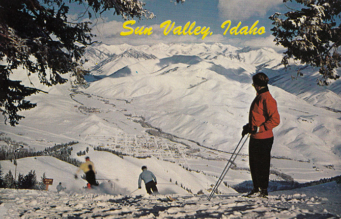 sun valley idaho vintage ski holiday run postcard
