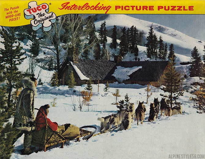sun valley idaho dog sled vintage photo jigsaw puzzle tuck