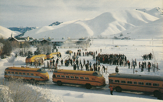 sun valley idaho ski resort vintage school bus