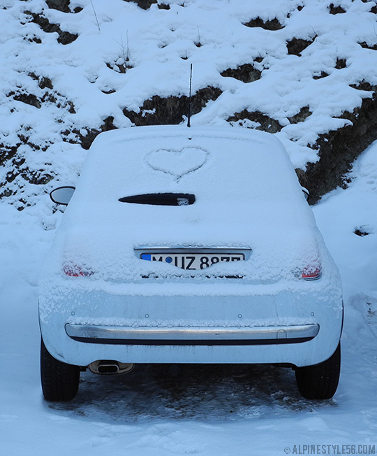 happy valentines day fiat 500 heart snow austria light blue
