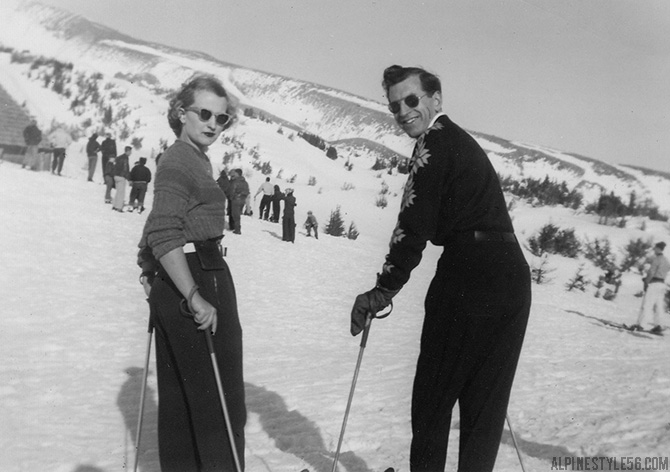wife husband couple ski together skiing vintage