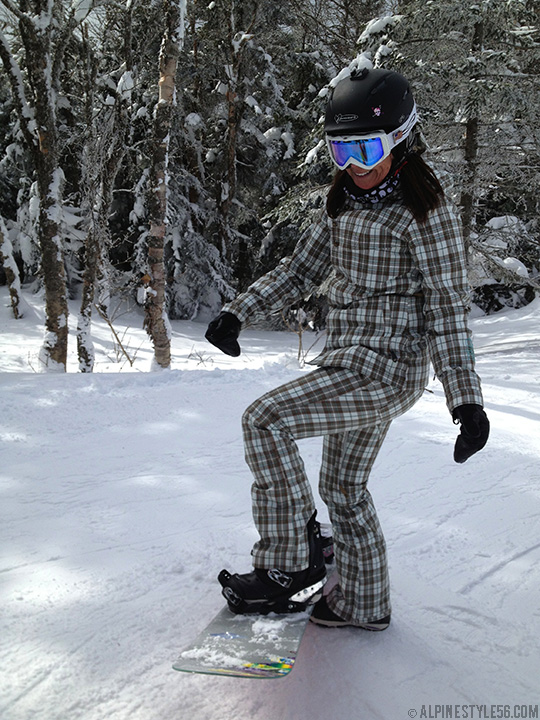 kathy herde burton snowboard bonfire plaid bike